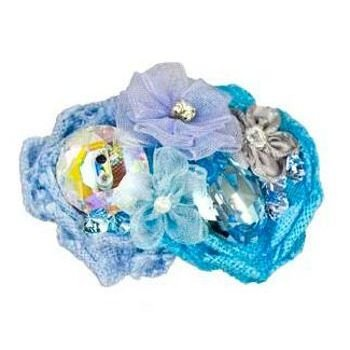 Tarina Tarantino - Fashion Couture - Iconic Collection - Swarovski Crystal Linen & Organza Flower Collage Hairclip - Blue #HC03S7-2