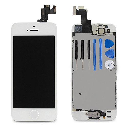 for iPhone 5s Digitizer Screen Replacement White - Ayake 4 Full LCD Display Assembly with Home Button, Front Facing Camera, Earpiece Speaker Pre Assembled and Repair Tool Kits