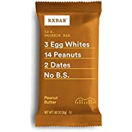 RXBAR Real Food Protein Bar, Peanut Butter, Gluten Free, 1.83oz Bars, 12 Count