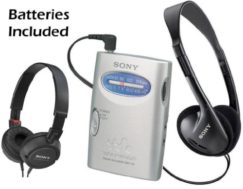 Sony Walkman Compact Portable Lightweight AM/FM Stereo Radio with Convenient Belt Clip, Over the Head Stereo Headphones & Lightweight Studio Monitor Series Swivel Headphones - Batteries Included - Designed for Jogging, Walking, Exercising & Bike Riding