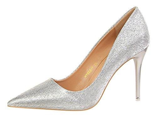 T&Mates Womens Elegant Stiletto Glitter Bling Pointed Toe High Heel Slip On Wedding Pumps Shoes (7 B(M) (Dye Ultra Lite Front)