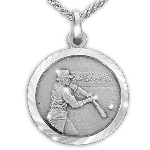 TrueFaithJewelry Sterling Silver Baseball Sports Medal with Saint Christopher Back, 3/4 Inch