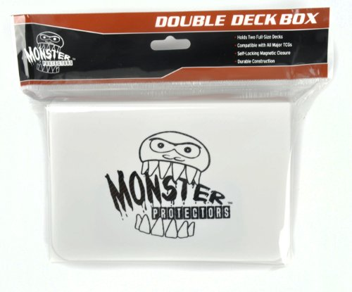 Monster Protectors Trading Card Double Deck Box with Magnetic Closure - White (Fits Yugioh, Pokemon, Magic the Gathering Cards)