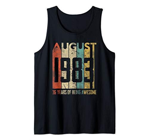 - August 1983 Tshirt 36 Years Old 36th Birthday Gift Men Women Tank Top