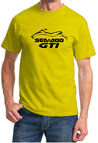 - 2008-11 Sea Doo GTI Jet Ski PWC Classic Outline Design Tshirt large yellow