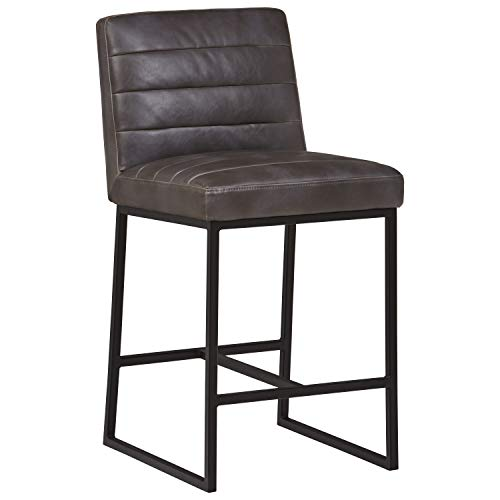 Decatur Counter - Rivet Decatur Modern Barstool - 22 x 18 x 37 Inches, Grey Top Grain Leather