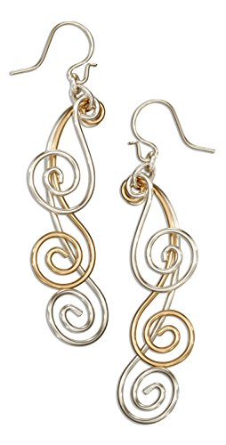 Sterling Silver and 12 Karat Gold Filled Triple Graduated Spiral Dangle Earrings (Filled Earrings Gold Spiral)