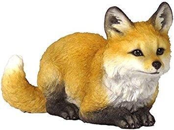 (5.5 Inch Fox Pup Crouching Decorative Statue Figurine, Orange and Tan )