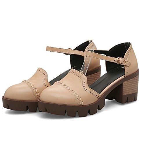 Sandals Frauen apricot Chunky Kappe Retro Schulpumpen TAOFFEN Schuhe Runde Heel 8qd4Y6