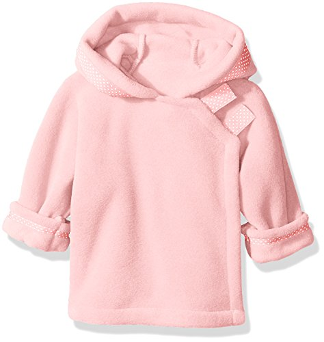 Pink Ribbon Wrap - Widgeon Girls' Polartec Fleece Warmplus Fleece Wrap Jacket with Dot Ribbon, Light Pink, 3 Months