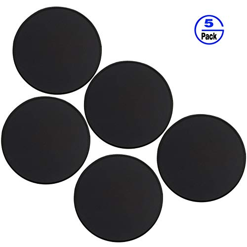 Gimnor 5 Pack Round Mouse Pads with Stitched Edges, Single Circular Mouse Pad Mat, Non-Slip Rubber Base Mousepad for All Types of Mouse Laptop Computer PC 7.87 x 7.87 inches Black