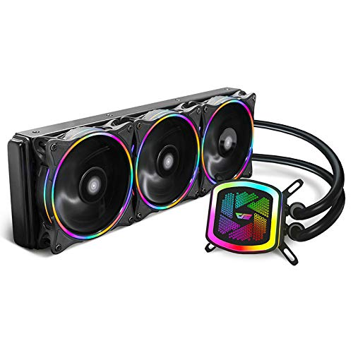 darkFlash DT360 360mm Water Liquid Cooling Cooler Radiator with 3PCS 120mm LED Rainbow Static Lighting Case Fan CPU Cooler (DT360 (Rainbow))