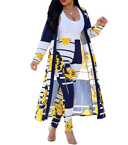3ebc100c18 Uni Clau Womens 2 Piece Outfits Stripe Floral Print Open Front Cardigan  Cover up and Leggings