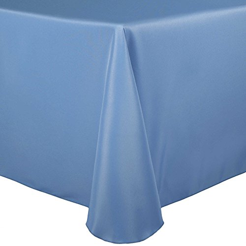 Ultimate Textile 60 x 84-Inch Oval Polyester Linen Tablecloth Light Baby Blue