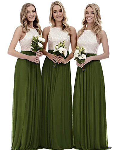 - Lace Bridesmaid Dresses Long Chiffon a-line Evening Wedding Party Gown for Womens Olive 26