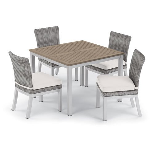 Oxford Garden Travira 5 -Piece 39-Inch Dining Table and Argento Side Chair Set - Powder Coated Aluminum Frame - Resin Wicker Argento Chair - Tekwood Vintage Table Top - Eggshell White Cushions (Oxford Garden Classic Side Chair)