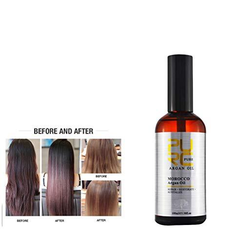 Morocco Pure Argan Oil for Hair Care 10ml Treatment Oil for All Hair Types Hair Scalp Treatment (A)]()
