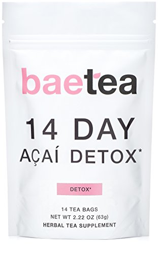 Baetea 14 Day Acai Detox: Gentle Detox Tea. Reduce Bloating and Constipation. Appetite Suppressant. with Acai Berry, Goji Berry, Hibiscus Flower. 14 Pyramid Tea Bags.