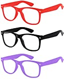 3 Pairs Kids Clear Lens Sunglasses Protect Child's Eyes Red Black Purple