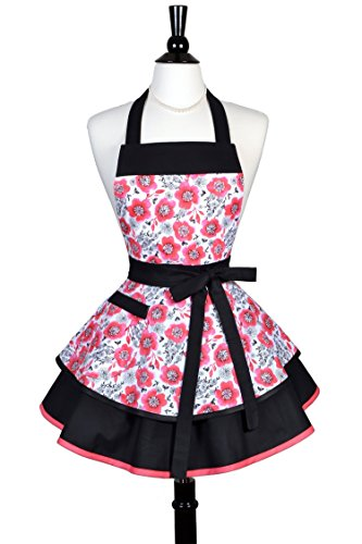 Asian Inspired Costumes (Womens Ruffled Retro Apron in Asian Inspired Red Cherry Blossom Floral - Monogram Option)