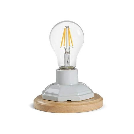 OYGROUP Lámparas de mesa con base de madera de cerámica blanca vintage con interruptor E27 Base (sin bombilla) Lámpara de escritorio industrial ...