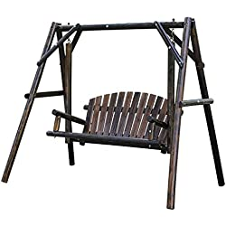 KuHouse Outdoor Patio Swing 2 Person Wooden Porch Swing For Patio,Deck or Yard (Brown)