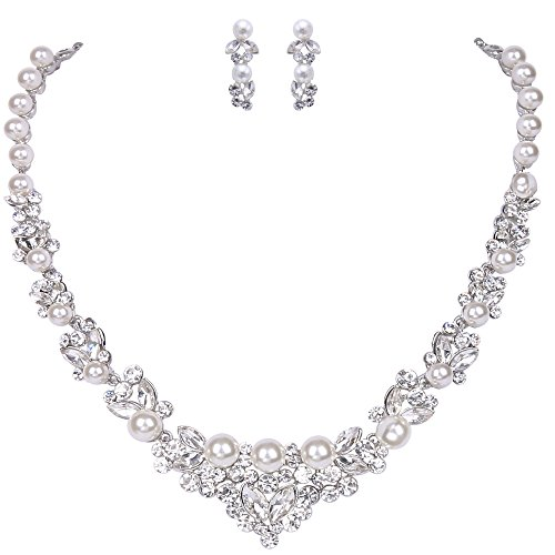 EVER FAITH Bridal Leaf Jewelry Set Clear Austrian Crystal Silver-Tone Simulated Pearl Ivory Color Cream -
