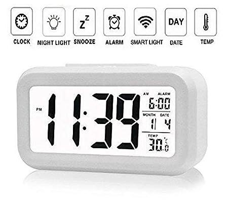 Digital Smart Backlight Alarm Clock with Automatic Sensor,Date & Temperature (Black or White)