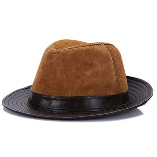 Fedoras Leather Trilby Hats Brown British Vintage Jazz Caps Patchwork Real Leather Gentleman Fedora Hat Men