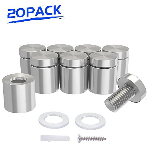 """1"""" x 1"""" Sign Standoffs Stainless Steel, Wall Standoff Screws Mount Advertising Nails for Glass, Set of 20"""