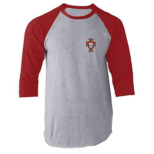 5b3b715b Pop Threads Portugal Soccer Retro National Team Football Red M Raglan  Baseball Tee Shirt