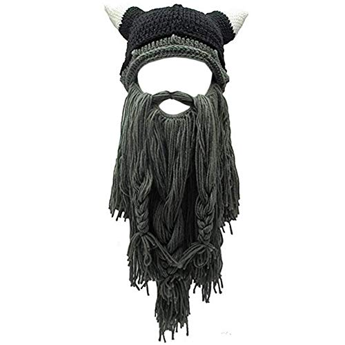 Creative Original Barbarian Knit Hair Beard Hat and Roman Knight Helmet Visor Cosplay Knit Beanie Hat (V-Grey) -
