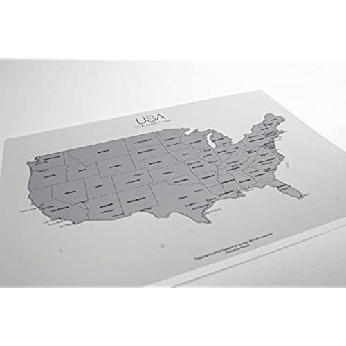 Scratchoff Us Map Mainland The United States Of America A X - Scratch off us state maps with pencil
