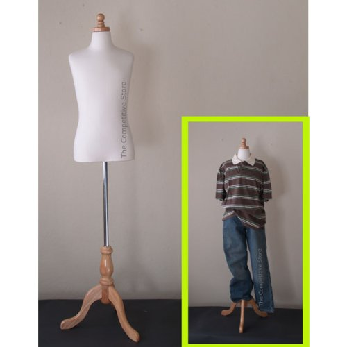 Boy Mannequin - Kids 11-12 Years Child Jersey Mannequin Dress Form - Boy or Girl - White with Natural Tripod Base