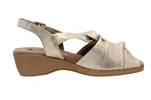 de Mujer Sandalia Calzado Cuña Confort Ancho Zapato Piesanto Cómodo 4581 Piel EOwwxAHRq