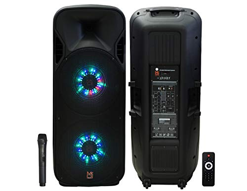 "Mr. Dj LETS JUMP 3-Way dual 15"" portable Active full range speaker, 5000 Watts P.M.P.O - Dual Dj Speakers 15"