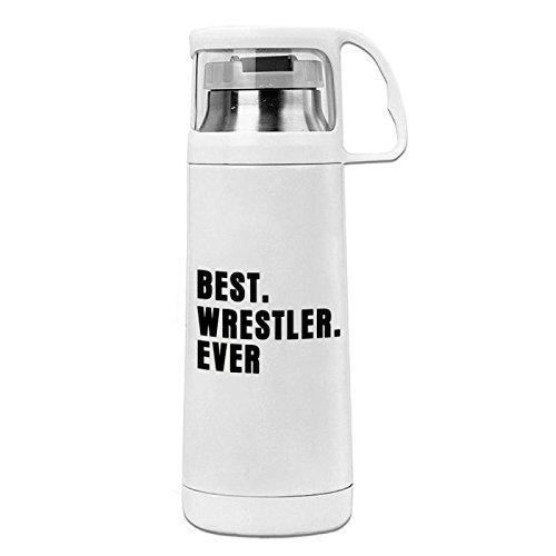 Funny Stainless Steel Vacuum Insulated Travel Mug Best Wrestler Ever, Fun Wrestling Sport Gift White Travel Mug 14OZ/350ml by OneMtoss