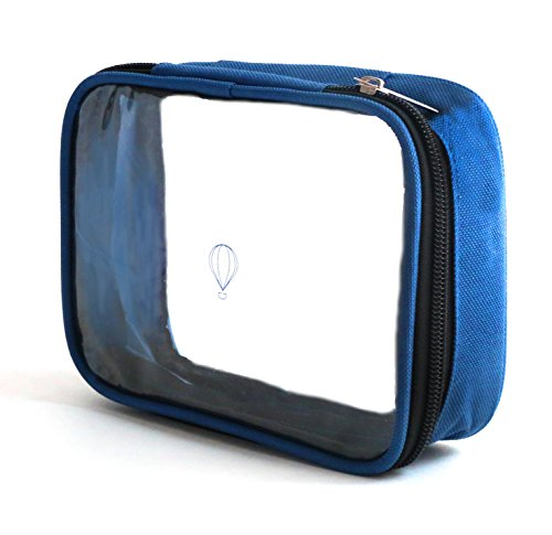 Wanderwind Premium SMALL TSA Approved Clear Durable Toiletry Bag for Domestic/International Travel | Quart Size 3-1-1 Compliant Toiletries/Cosmetics/Accessories in Carry-On Luggage (SMALL, Navy Blue)