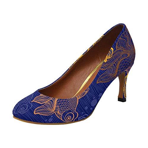 INTERESTPRINT Classic Dress Pumps Soft Walking High Heels Goldfish 9 B(M) US -