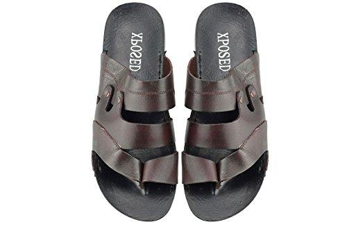 Marron-Cuir véritable à enfiler Bout en croix-Sangle Sandals Tongs