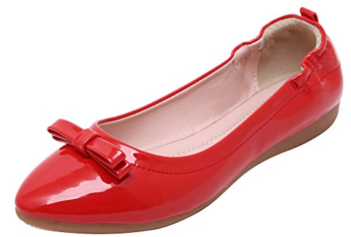 CFP 819-1 Womens Bowtie Flat Slip On Convenient Simple Slide Slippers Pointed Toe Antislipping Ventilative Soft Creative Loafers Lissom Pliable Concise Street Shoes Red M US 5.5 qRocIQ