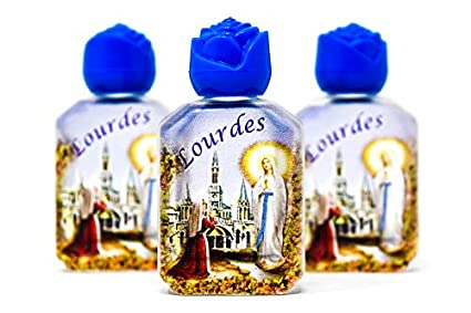 Lourdes 3 pack of Holy Water Bottles, 6 cm tall filled with Lourdes Water in Frosted Bottles