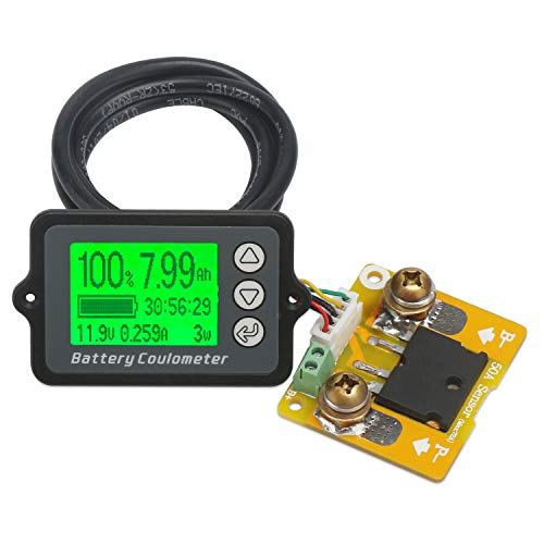 DROK LCD Digital Multimeter Charge-Discharge Battery Coulometer Tester Voltage Current Power Watt Hour Time Capacity Meter Gauge DC 8-80V 75A Battery Status Indicator Monitor Voltmeter Ammeter