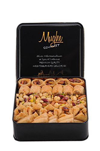 Desserts Baklava - Luxury Turkish Baklava Traditional Assortment Pistachio Gift Box 27 oz. Two Layer 52 pcs - Best Baklawa Pastry Assorted Delights (Dessert of Sultans) for Holiday Bakery Mix Gourmet Sweets by Mughe