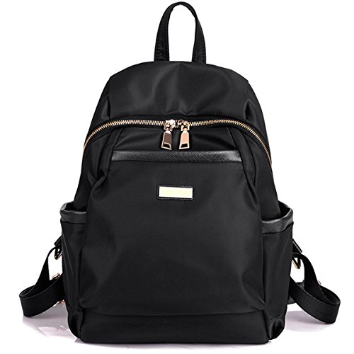 Nylon Water-resistant Backpack Bag - Top Handle Rucksack Lightweight Durable Casual Fashion School Bag Purse for Womens Girls (Black) by Cloth Shake