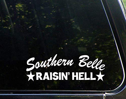 Funny Sticker for Men Southern Belle Raisin' Hell Vinyl Decal Sticker for Windows Car Trucks Laptop 9 inch]()