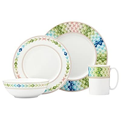 Lenox 4 Piece Entertain 365 Sculpture Green/Blue Place Setting, Multicolor - Crafted of Porcelain Microwave and dishwasher safe Each place setting includes a dinner plate, accent plate, all purpose bowl, and mug - kitchen-tabletop, kitchen-dining-room, dinnerware-sets - 41ZuR1QX5zL. SS400  -