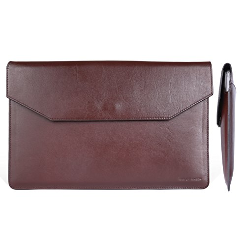 Macbook Air 11 Inch Italian Leather Sleeve - Premium Envelope Case for Apple Mac Laptop 11 Inches - Dark Brown - Elegant Packaging - Dark Brown - Earphone Holder Gift - by Kasper Maison