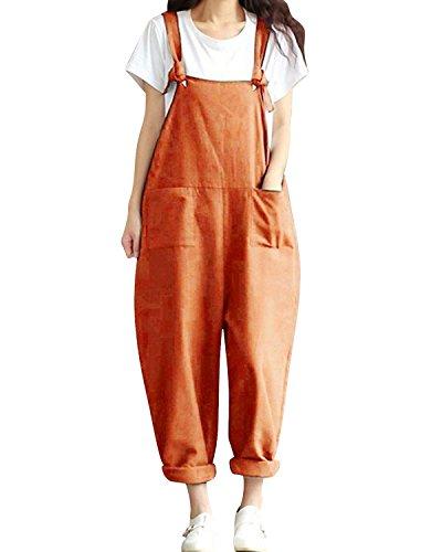 LVCBL Women Cotton Plus Size Overalls Baggy Bibs Jumpsuits Dungarees with Pockets Khaki (Cotton T-shirt Bib)