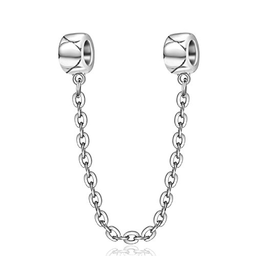 (Love Heart Safety Chain 925 Stering Silver Crew Threaded Safety Chain for European Bracelet (Big Heart))